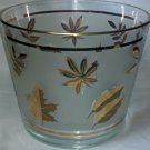 Vintage Libbey Gold Leaf Ice Bucket Frosted Glass