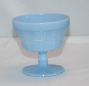 Delphite Blue Doric Pattern Sherbet Glass by Jeannette Glass Company