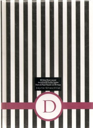 """NEW Lined Striped Purple """"D"""" Journal or Diary - Special Price!"""