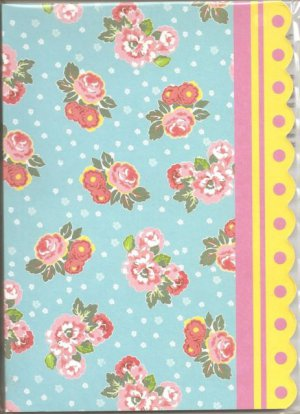 New Lined Red and Pink Flowers With Blue Back Journal or Diary