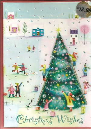 New Sparkly Skating Christmas Cards - 18 Pack