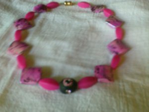 Choker Necklace with pink and black acrylic beads.
