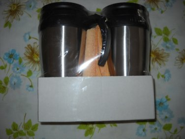 2 PACK TRAVEL MUGS W/MICROFIBER CLOTH