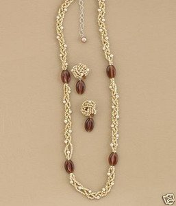 AMBER BEAD JEWELRY SET WITH PIERCED EARRINGS