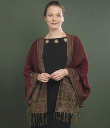 Women's Burgundy Paisley Shawl