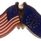 U.S. & STATE FLAG LAPEL PIN- Indiana