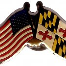 U.S. & STATE FLAG LAPEL PIN- Maryland