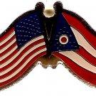 U.S. & STATE FLAG LAPEL PIN- Ohio