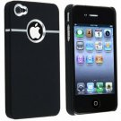 SM Deluxe iPhone 4 Black Case Cover w/chrome