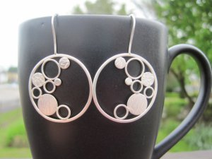 Bubble Hoop Earrings- Sterling Silver, Metalwork