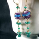 Peacock Gemstone Earrings- Amethyst, Green Onyx, Blue Apatite, Gold Filled, Wire Wrapped