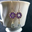 Pinwheel Design- Earrings, Purple & Green Amethyst, Gold Filled, Wire Wrapped