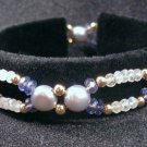 Scalloped Gemstone Bracelet- Moonstone, Iolite, Pearl, Gold Filled, Double Strand