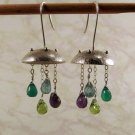 Silver Jellyfish Earrings- Amethyst, Peridot, Apatite, Green Onyx, Metal Work with Gemstones