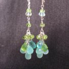 Peridot Cluster Earrings with Apatite, Aqua Chalcedony & Aquamarine in Silver