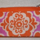 CLINIQUE MAKEUP/COSMETIC BAG ORANGE/ PINK w FLOWER print
