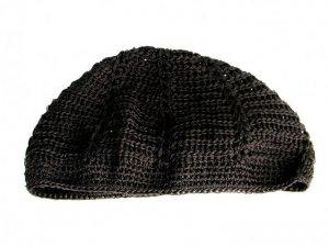Mens Knitted Skull Cap Kufi Beanie Hat. Black. Rasta, Waffle, Skully Men's Crochet.