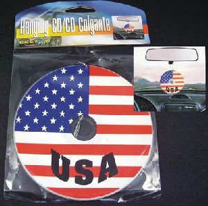 New Patriotic USA Flag Car Auto Rear-View Mirror CD Hanging Dangler Hanger