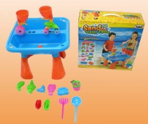 2012 Sand & Water Activity Table w/ Beach & Sand Toys Set Kids by Joybay (BLUE)