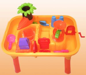 Tropical Escape Themed Fun Sand & Water Table w/ 20 Beach & Water Toys by Joybay
