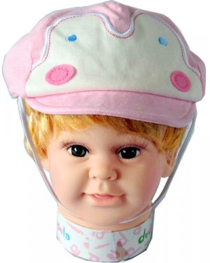 Dudula Pastel Penguin Baby and Toddler Cap w/ Strap in Pink 6 mnths ~ 2 yrs