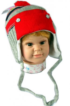 Dudula Baby Striped Bear Button Knit Beanie With Strap in Red/Grey 18~36 mon