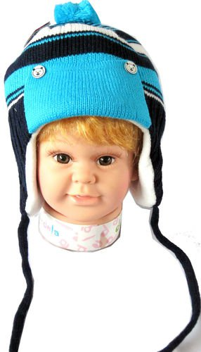 Dudula Baby Striped Bear Button Knit Beanie With Strap in Lt Blue/Navy 18~36 mon
