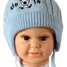 Dudula Puppy Knit Crochet Beanie with Tie String Blue-Fits 6- 18months