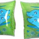 "CHILDREN'S Pair of Little Dolphin 8"" Inflatable Arm Ring Float in Green"
