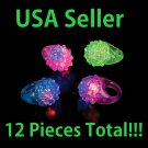 LOT of 12 Blinking LED Light Soft Flashing Bumpy Ring Great Party Raves Concerts