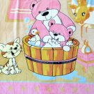 NEW Soft Baby Bear & Mama Cat Kid Children Infant Fleece Blanket Throw 48x60Pink