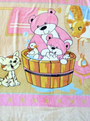 NEW Soft Baby Bear & Mama Cat Kid Children Infant Fleece Blanket Throw 48x60Pink