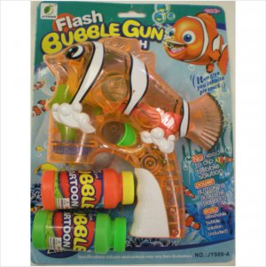 LED Light Up Flashing Bubble Blaster Shooter Fish Gun Blower w/ 2 Refill Bottles