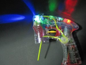 LED Light Up Flashing Bubble Blaster Shooter Toy Gun Blower w/ 2 Refill Bottles