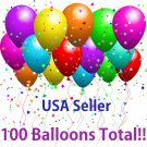 "100 Pieces 11 "" Assorted Color Decoration Oval Latex Balloons Pack Party Favors"