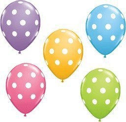 "12 Pack Polka Dot 11"" Pastel Latex Decorative Party Favor Celebration Balloons !"