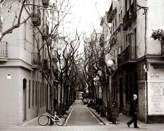 Barcelona Spain street in Eixample area