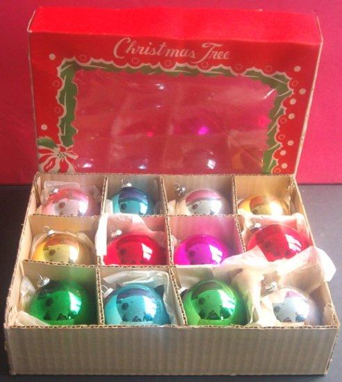 VINTAGE BOX of 12 GLASS CHRISTMAS TREE BALLS ORNAMENTS