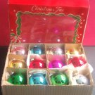 VINTAGE BOX of 12 GLASS CHRISTMAS TREE BALLS ORNAMENTS