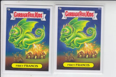 Firey Francis Base Lot x2 Garbage Pail Kids Series 2 Trading Card #98a