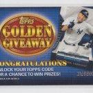 Derek Jeter Golden Giveaway Expired Code 2012 Topps #GGC-19 Yankees