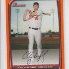 Aubrey Huff Orange Parallel 2008 Bowman #132 Orioles 076/250