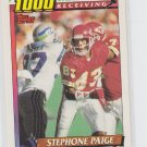 Stephone Paige 1000 Yard Club 1991 Topps #14 Chiefs