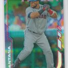 Carlos Santana Blue Refractor 2014 Topps Finest #87 Indians #'D 023/199