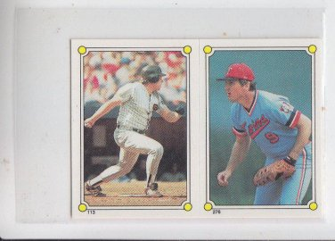 John Kruk & MIckey Hatcher 1987 Topps Sticker Softback #113-276 Twins Giants