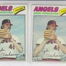 John Verhoeven Lot of (2) 1977 Topps #91 Angels VGEX