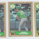 Mark McGwire Baseball Trading Card lot of (3) 1987 Topps #366 Athletics
