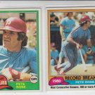 Pete Rose Lot of (2) 1981 Topps Baseball Cards #180 & #205 Reds EXMNT Corners