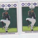 Ubaldo Jimenez Trading Card Lot of (2) 2008 Topps #111 Rockies