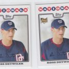 Ross Detwiler RC Trading Card Lot of (2) 2008 Topps #92 Nationals